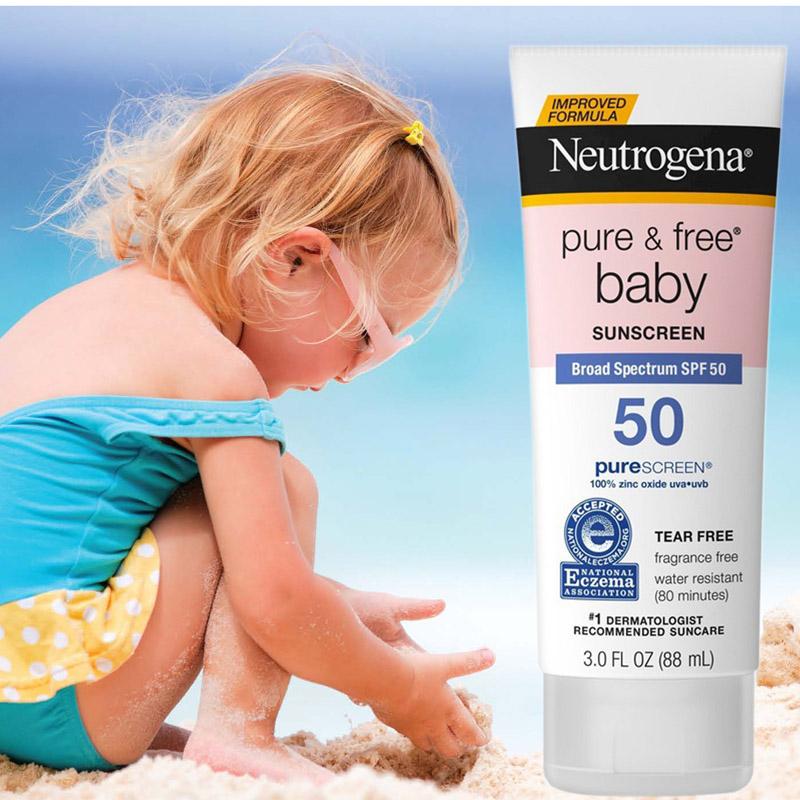 Kết quả hình ảnh cho Neutrogena Pure & Free Baby Sunscreen Broad Spectrum SPF 50+ 88ml